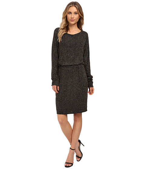 Jessica Howard - One-Piece Long Ruched Sleeve Blouson Dress (Black/Gold) Women's Dress