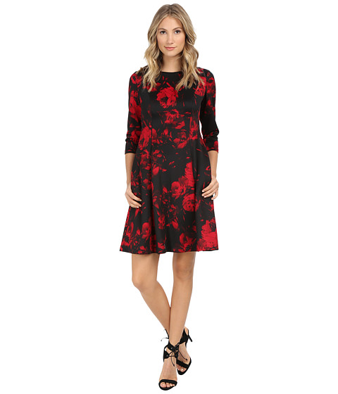 Jessica Howard - One-Piece 3/4 Sleeve Side Seamed Fit Flare Dress (Black/Red) Women