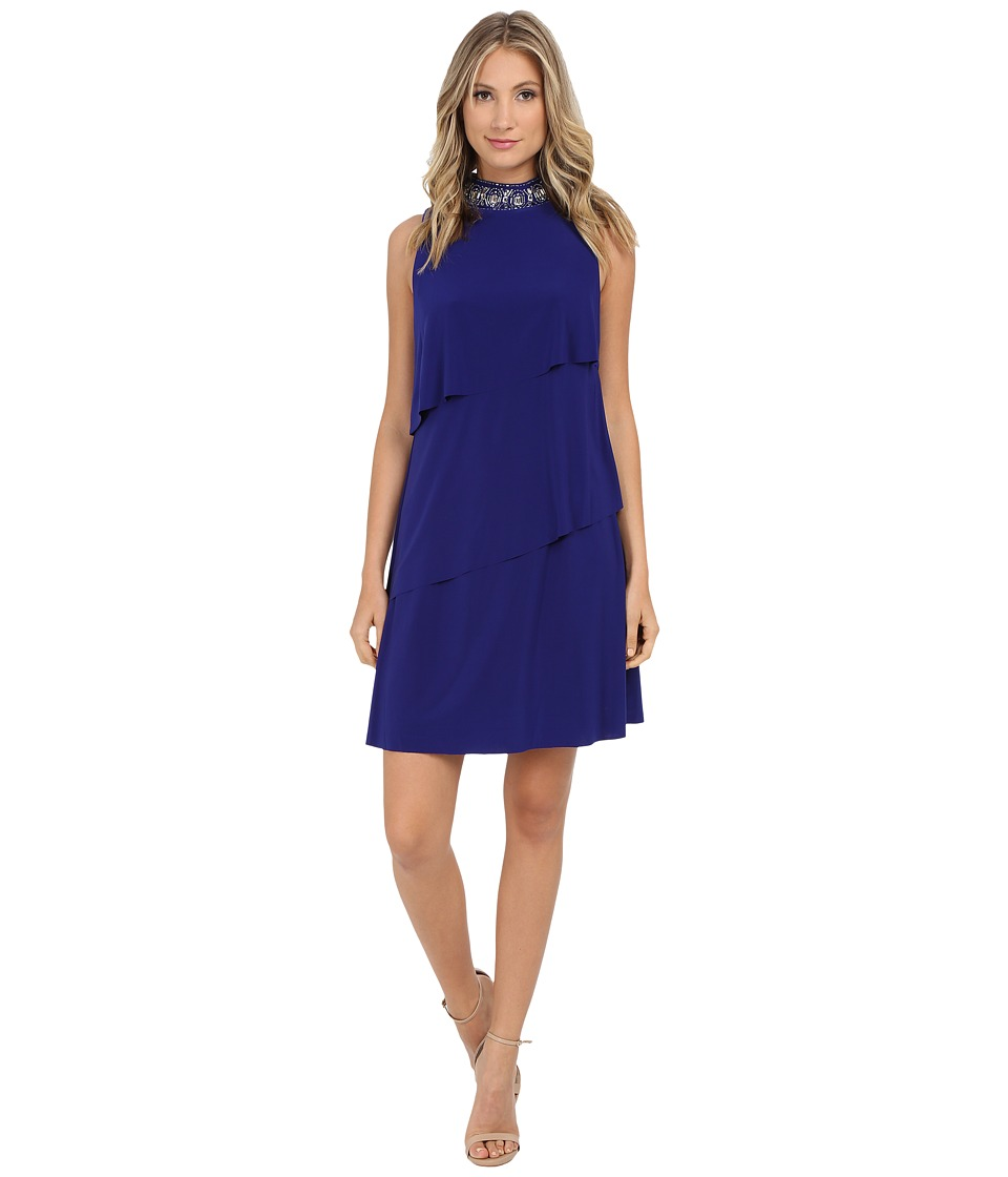 Jessica Howard - One-Piece Sleeveless Beaded Stand Collar Tiered Dress (Royal) Women