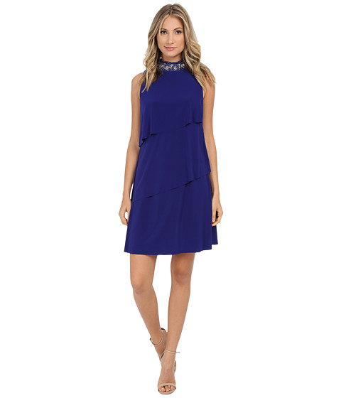 Jessica Howard - One-Piece Sleeveless Beaded Stand Collar Tiered Dress (Royal) Women's Dress