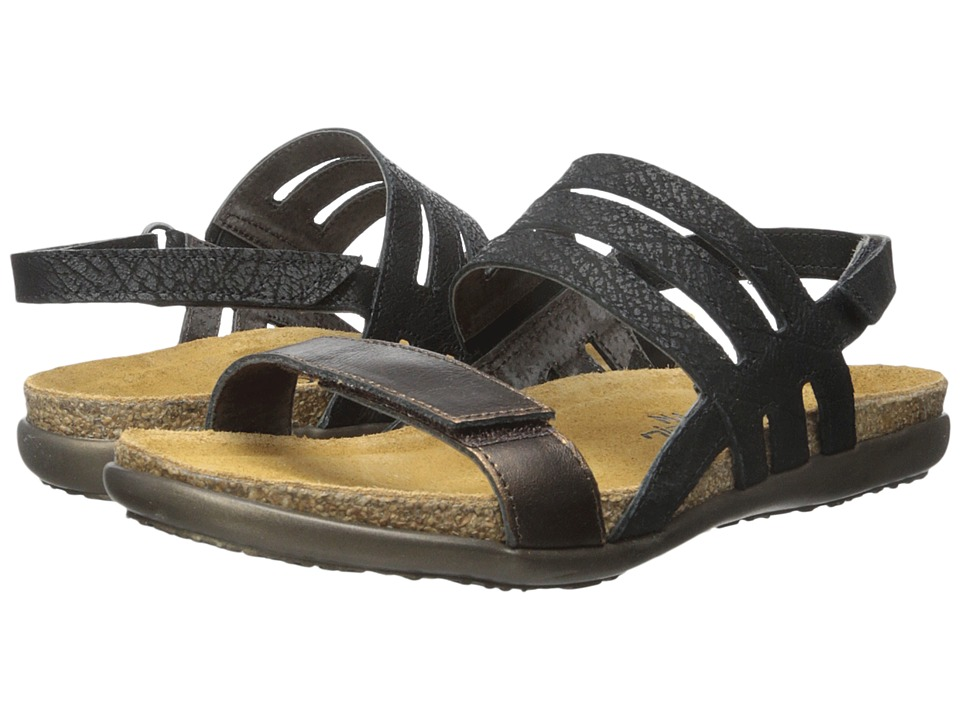 Naot Footwear - Diana (Black Crackle Leather/Burnt Leather) Women's Sandals
