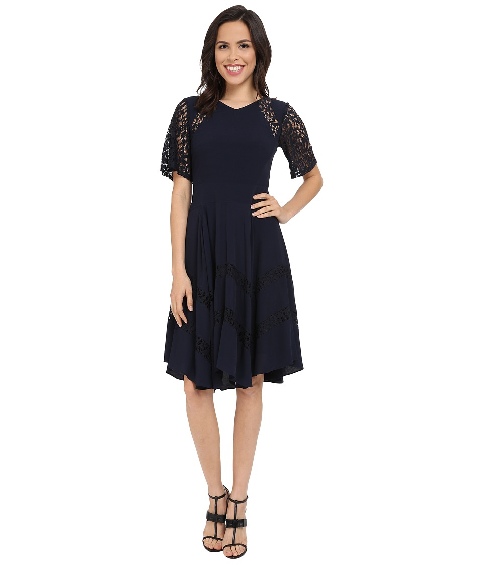 Rebecca Taylor - Crepe and Lace Dress (Navy) Women's Dress