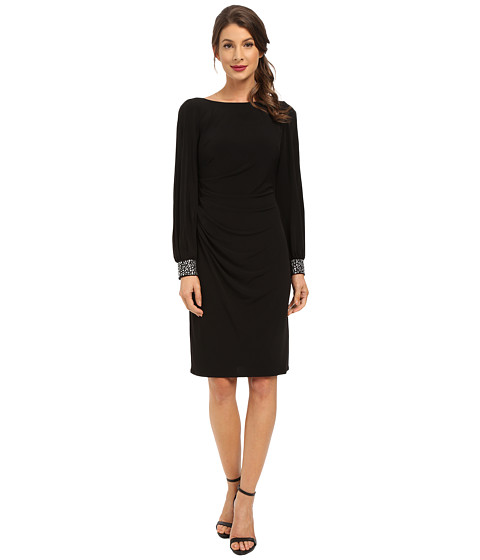 Jessica Howard - One-Piece Beaded Cuff Ballon Sleeve Side Tucked Sheath Dress (Black) Women
