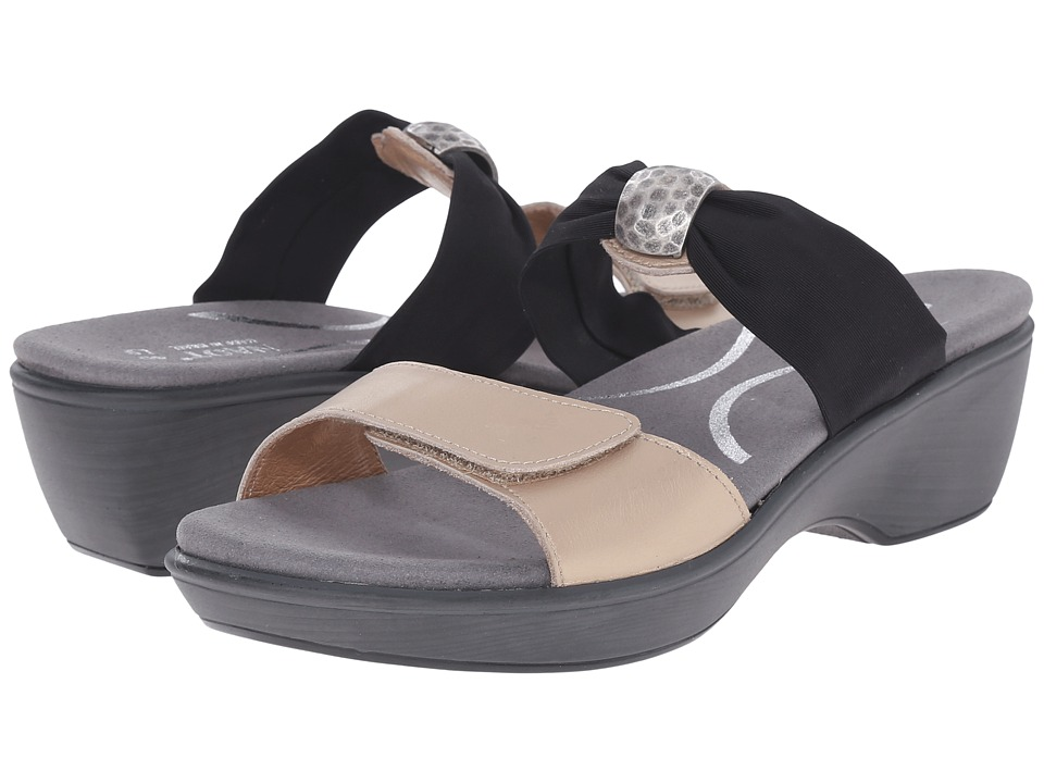 Naot Footwear - Pinotage (Satin Gold Leather/Black Stretch) Women's Sandals