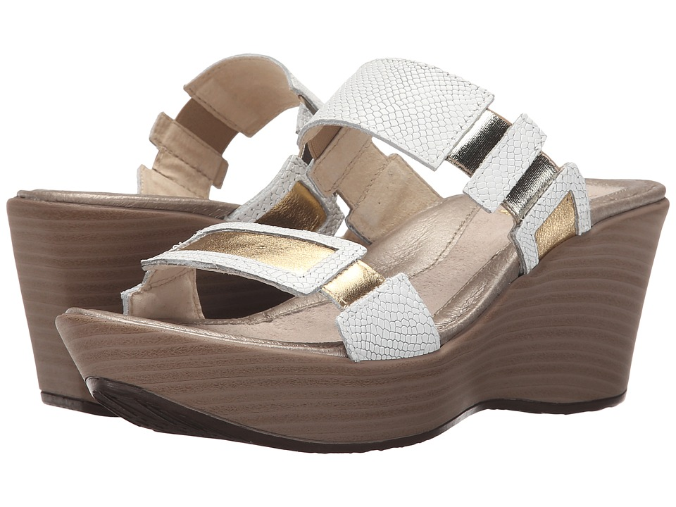 Naot Footwear - Treasure (White Snake Leather/Gold Leather) Women's Wedge Shoes