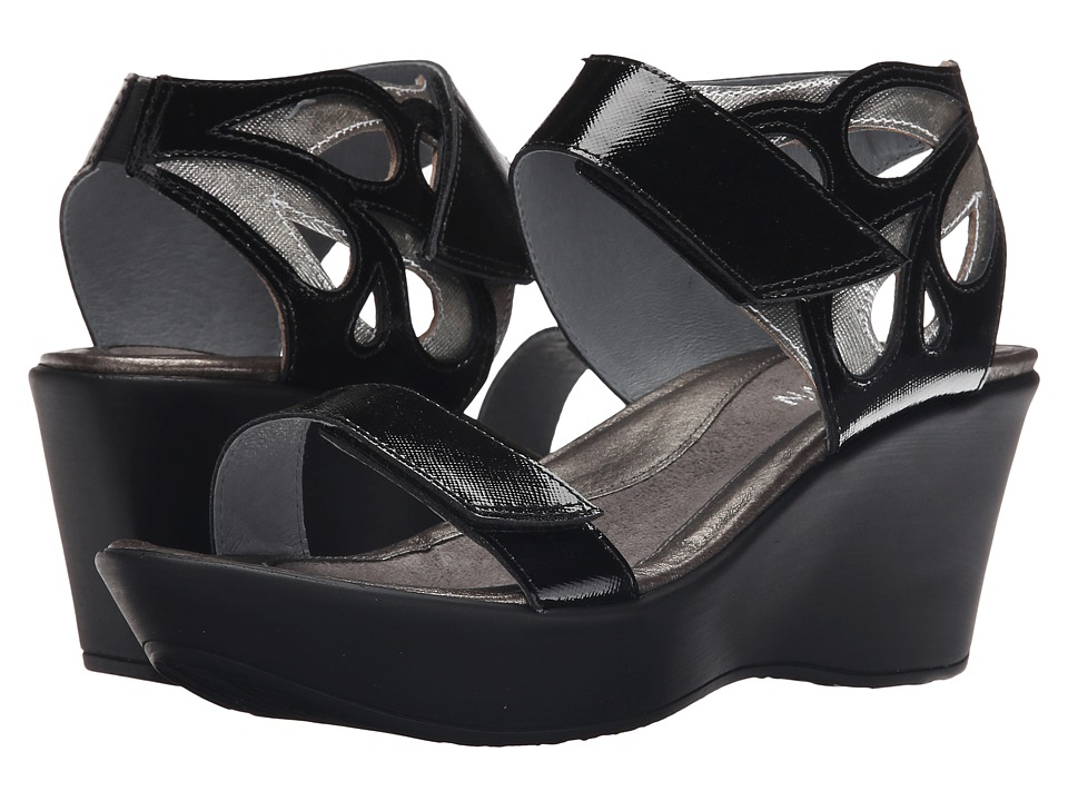 Naot Footwear - Intrigue (Black Luster Leather/Silver Luster Leather) Women's Sandals