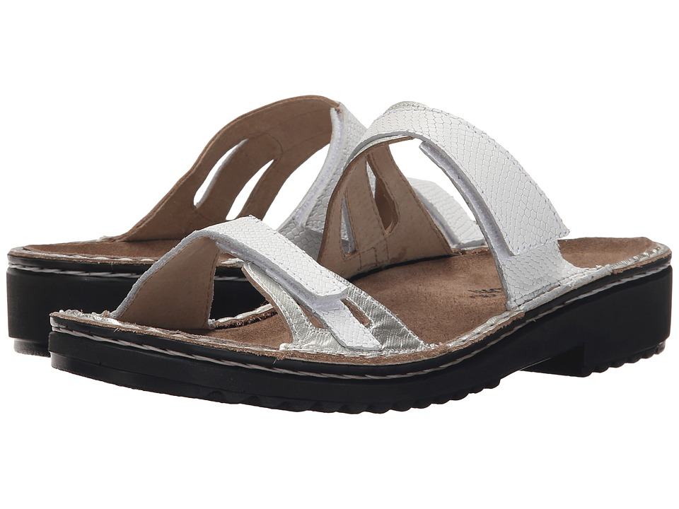 Naot Footwear - Sanna (Silver Luster Leather/White Snake Leather) Women's Sandals