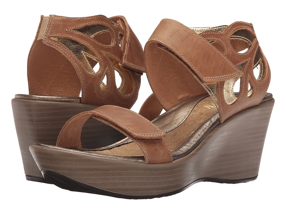 Naot Footwear - Intrigue (Latte Brown Leather/Gold Leather) Women's Sandals