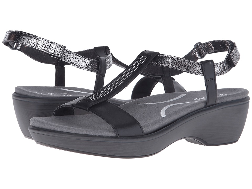 Naot Footwear - Marsanne (Black Raven Leather/Silver Pebble Leather/Black Raven Leather) Women's Sandals