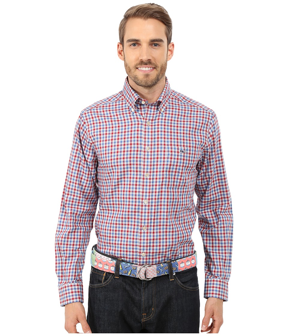 Vineyard Vines - Heathered Gingham Slim Tucker Shirt (Parade Red) Men's Long Sleeve Button Up
