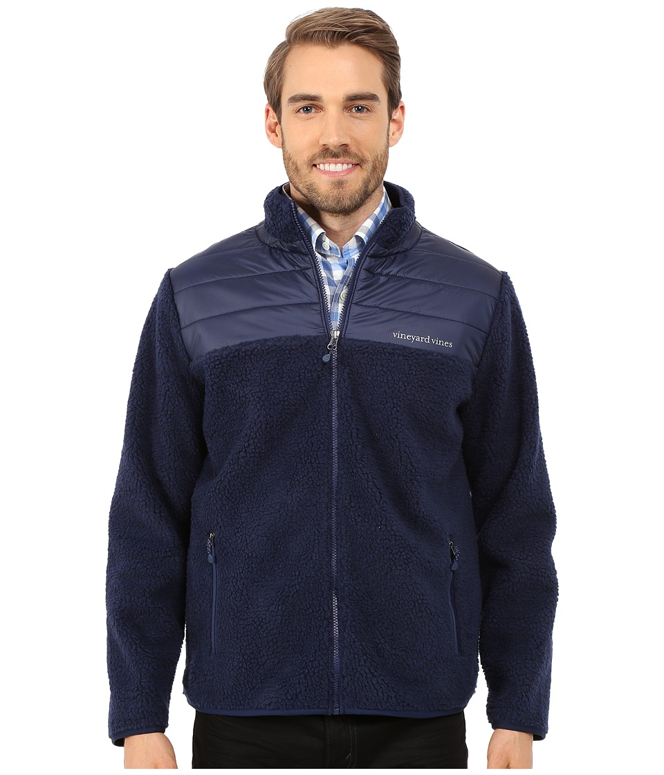 Vineyard Vines - Sherpa Full Zip Shirt (Deep Bay) Men's Coat
