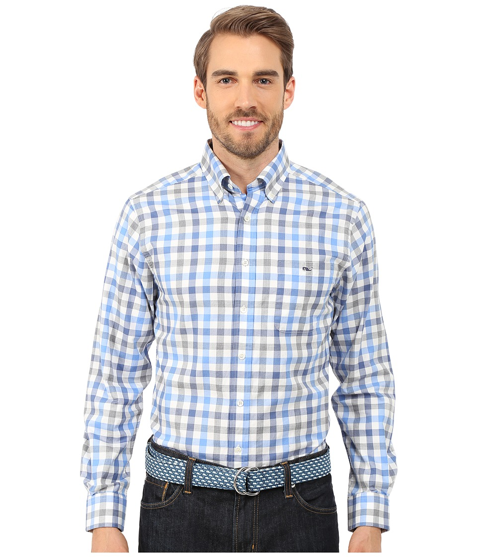 Vineyard Vines - Oak Hollow Plaid Slim Tucker Shirt (Flag Blue) Men's Long Sleeve Button Up