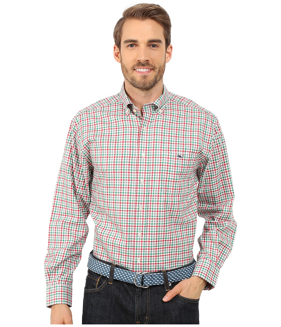 Vineyard Vines - Holiday Gingham Classic Tucker Shirt (Lighthouse Red) Men's Long Sleeve Button Up