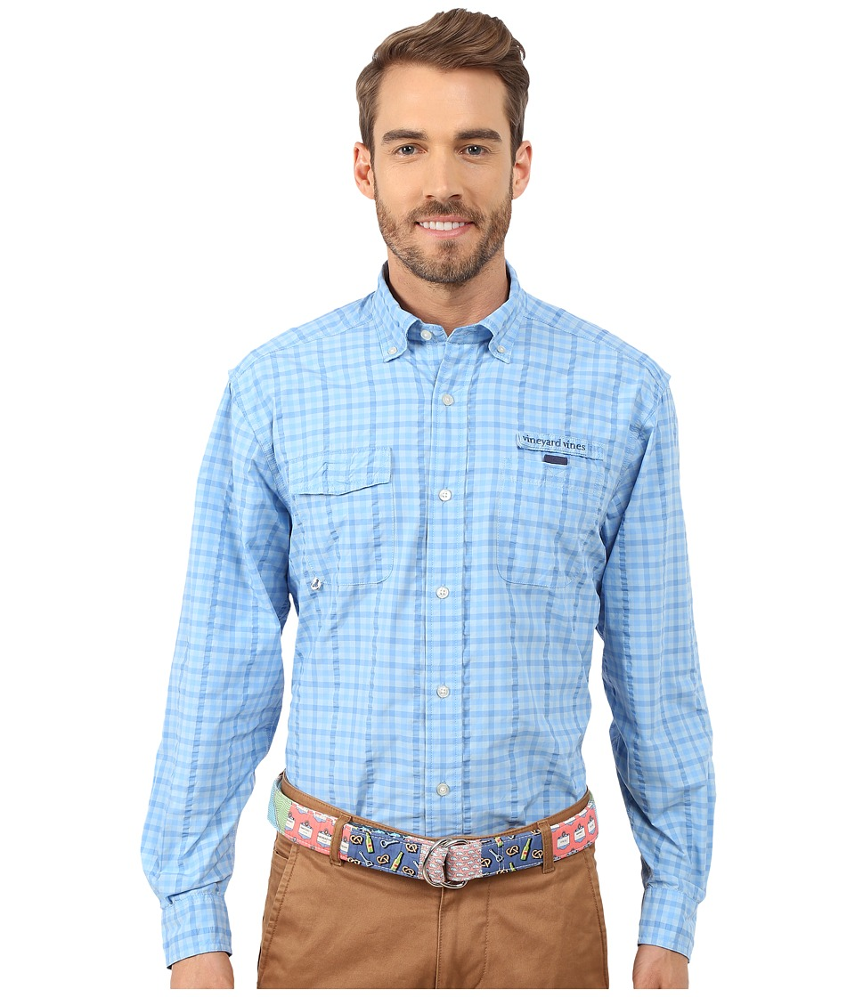 Vineyard Vines - Gauley Gingham Harbor Shirt (Ocean Breeze) Men's Long Sleeve Button Up