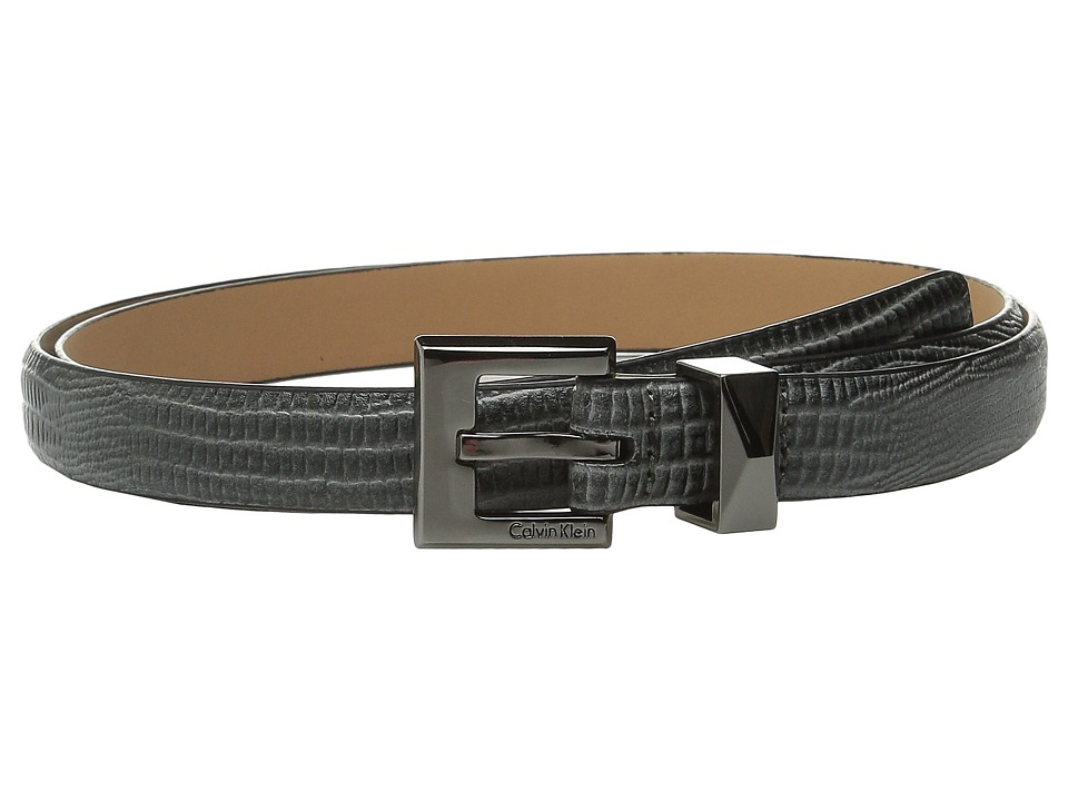 Calvin Klein - 20mm Embossed Lizard Belt (Dark Grey) Women's Belts