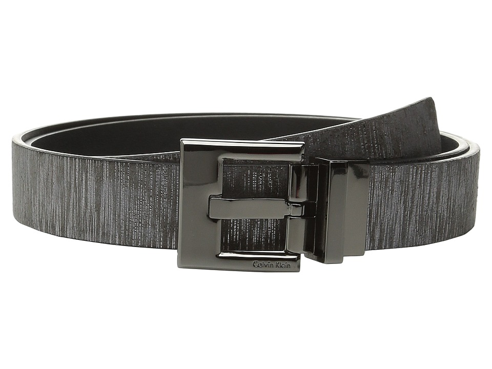 Calvin Klein - 30mm Reversible Metallic Wood Grain Belt (Grey) Women's Belts