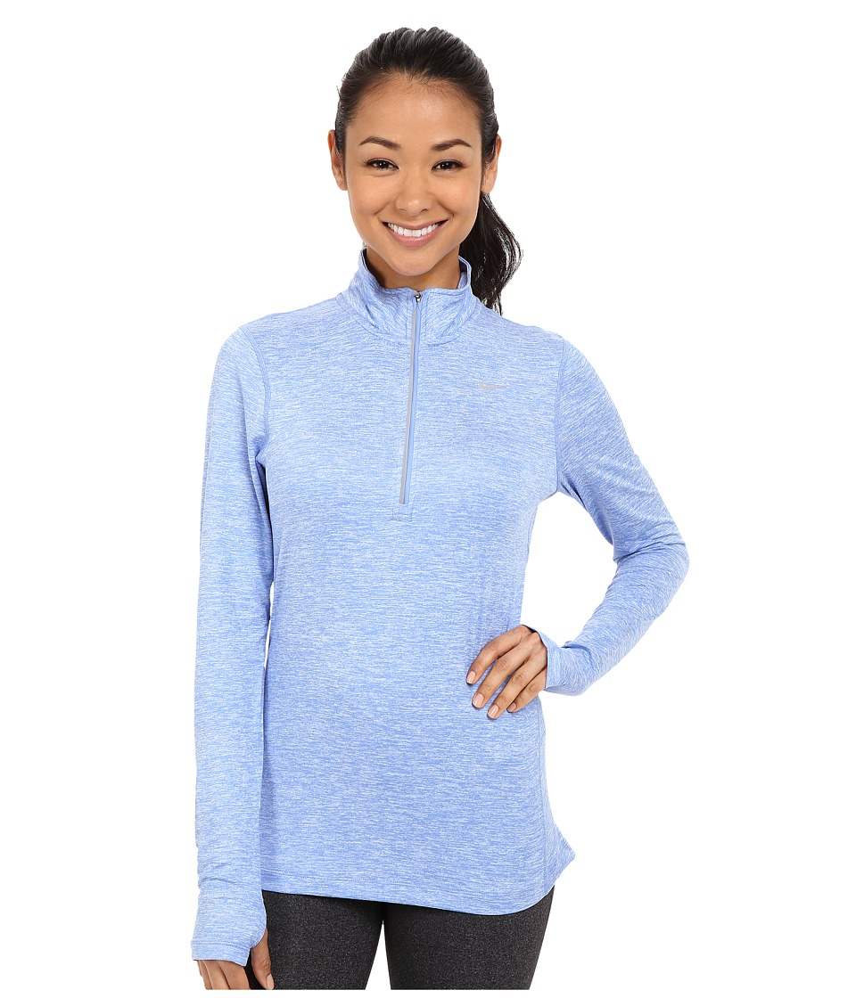 Nike - Dri-FIT Element Half Zip (Chalk Blue/Reflective Silver) Women's Long Sleeve Pullover