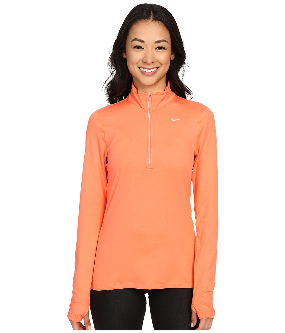 Nike - Dri-FIT Element Half Zip (Light Wild Mango/Reflective Silver) Women's Long Sleeve Pullover