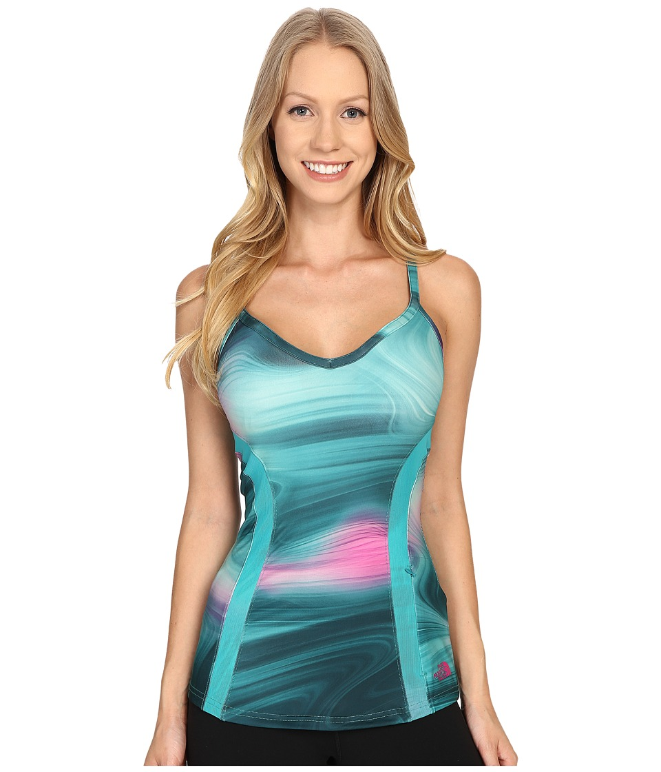 The North Face - Rio Tank Top (Teal Blue Water Swirl Print) Women's Sleeveless