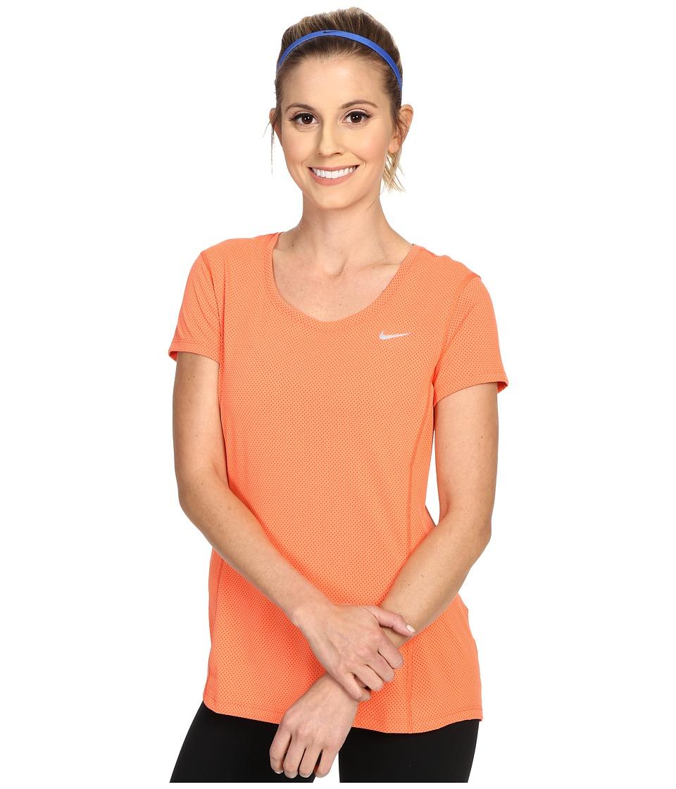 Nike - Dri-FIT Contour Short Sleeve (Light Wild Mango/Reflective Silver) Women's Short Sleeve Pullover