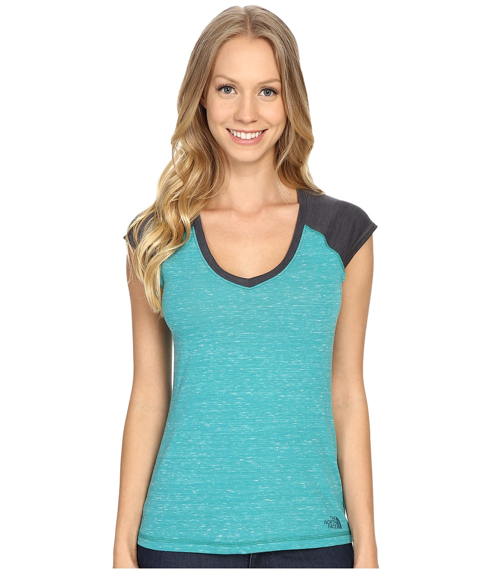 The North Face - Short Sleeve EZ Raglan Tee (Teal Blue Melange) Women