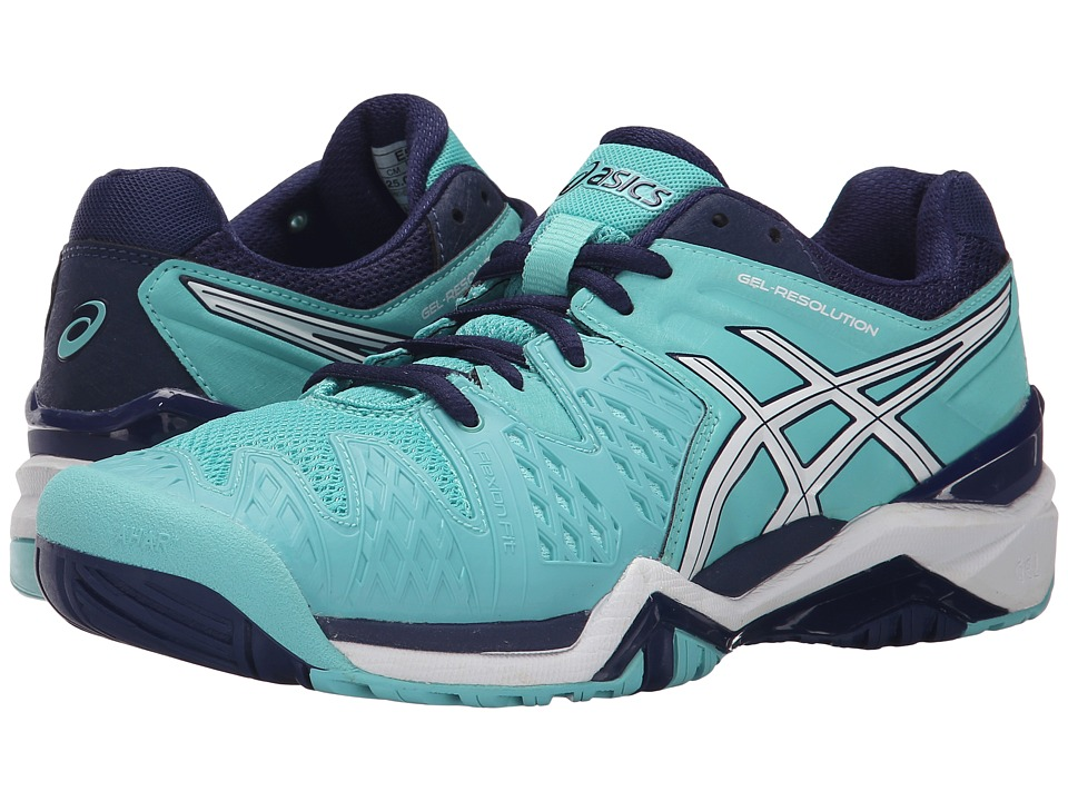 ASICS GEL-Resolution(r) 6 (Pool Blue/White/Indigo Blue) Women