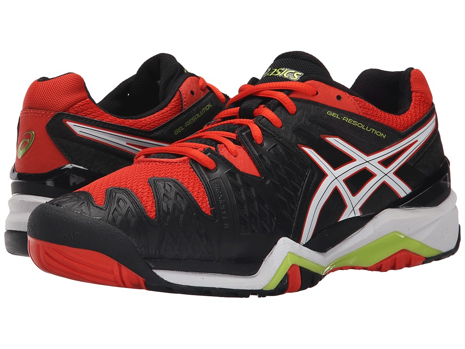 ASICS - GEL-Resolution(r) 6 (Black/White/Orange) Men's Shoes