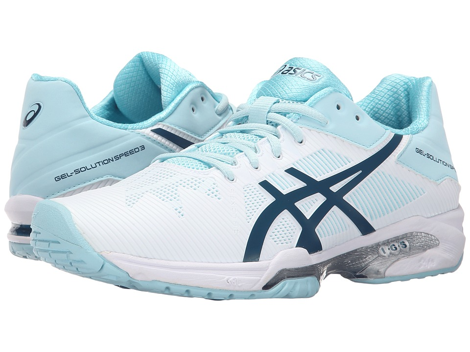 ASICS - Gel-Solution Speed 3 (White/Blue Steel/Crystal Blue) Women's Tennis Shoes