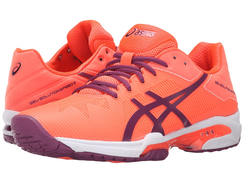 ASICS - Gel-Solution Speed 3 (Flash Coral/Plum/Flash Coral) Women's Tennis Shoes