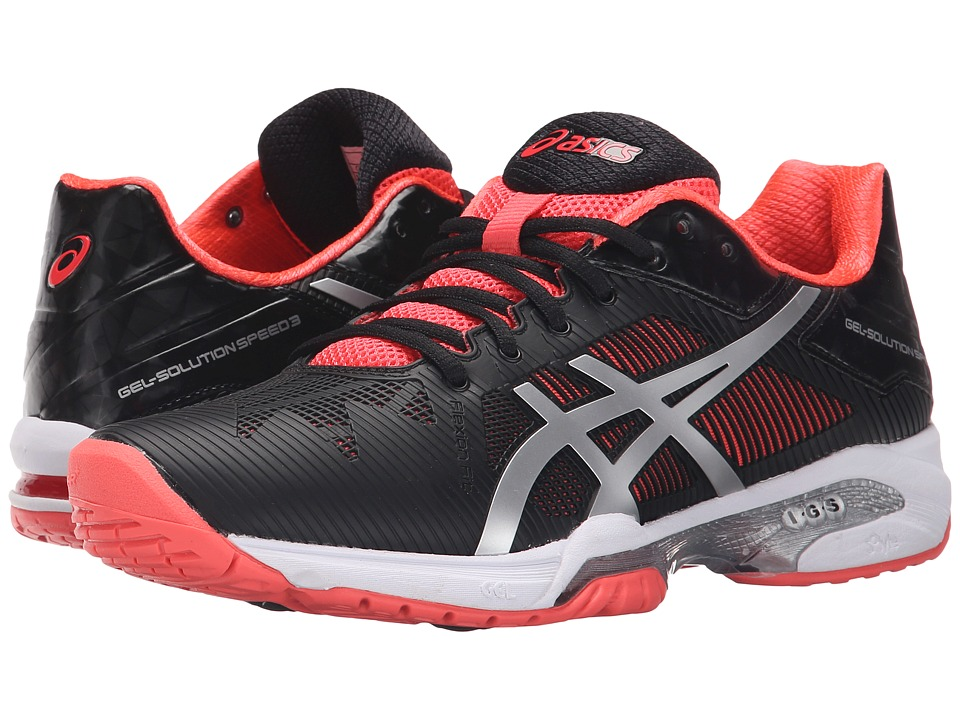 ASICS - Gel-Solution Speed 3 (Black/Silver/Diva Pink) Women's Tennis Shoes