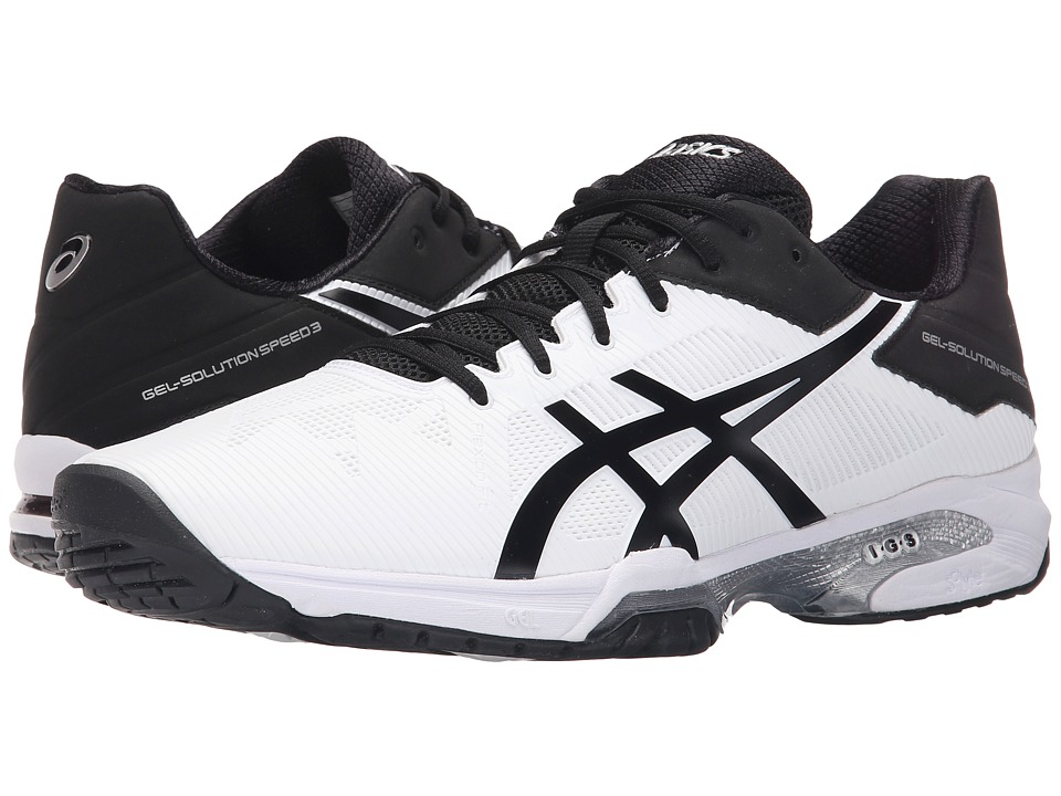 ASICS - Gel-Solution Speed 3 (White/Black/Silver) Men's Tennis Shoes