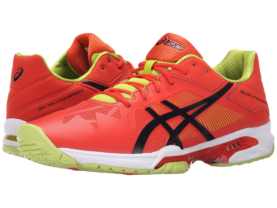 ASICS - Gel-Solution Speed 3 (Orange/Black/Lime) Men's Tennis Shoes