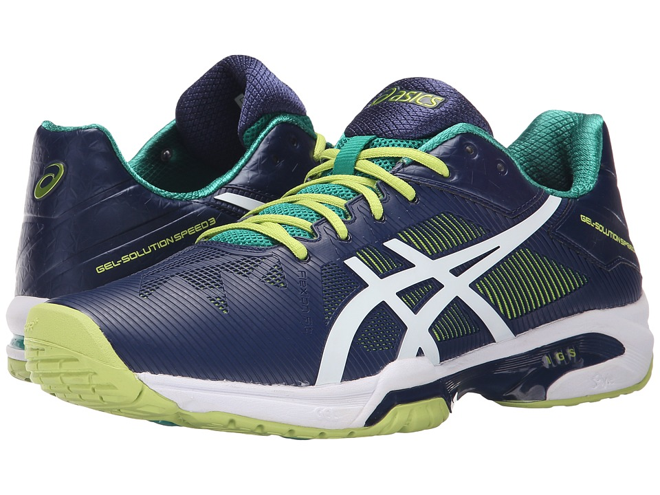ASICS - Gel-Solution Speed 3 (Indigo Blue/White/Lime) Men's Tennis Shoes