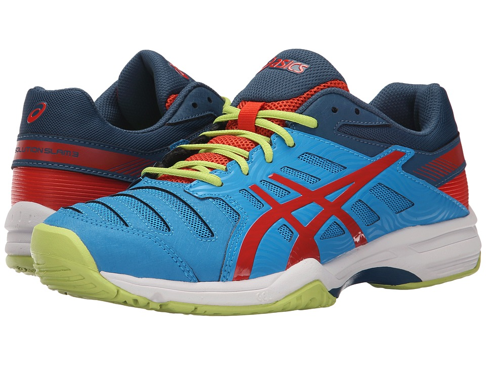 ASICS - Gel-Solution Slam 3 (Methyl Blue/Orange/Lime) Men's Tennis Shoes