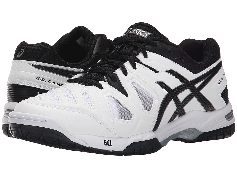 ASICS - Gel-Game 5 (White/Black/Silver) Men's Tennis Shoes