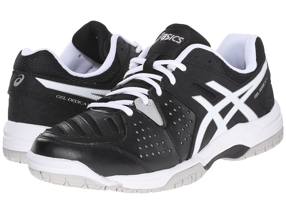 ASICS - Gel-Dedicate 4 (Black/White/Silver) Men's Tennis Shoes