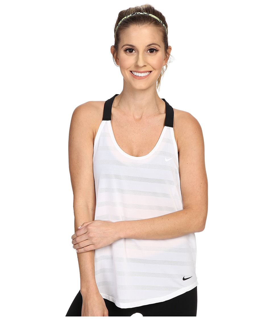 Nike - Elastika Elevate Tank Top (White/Heather/Black/Black) Women's Sleeveless
