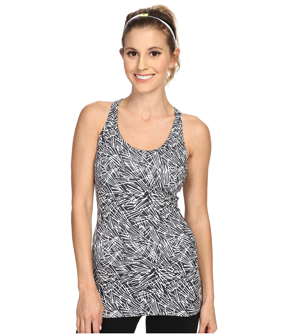 Nike - Get Fit Veneer Tank Top (Black/White/Black) Women's Sleeveless