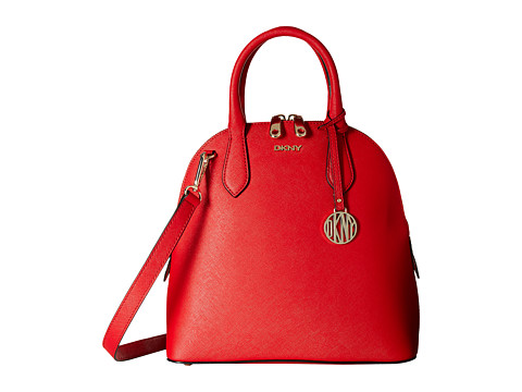 DKNY - Bryant Park - Saffiano Medium North-South Round Satchel w/ Detachable Shoulder Strap (Red) Satchel Handbags