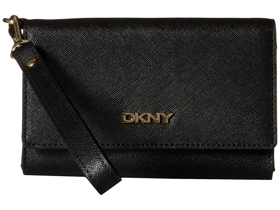 DKNY - SLGS - Bryant Park - Saffiano Tech Flip Wallet w/ Detachable Wristlet (Black) Wallet Handbags