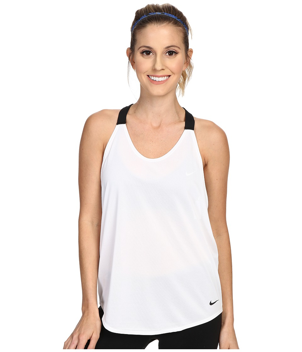 Nike - Elastika Solid Tank Top (White/Black/Black) Women's Sleeveless