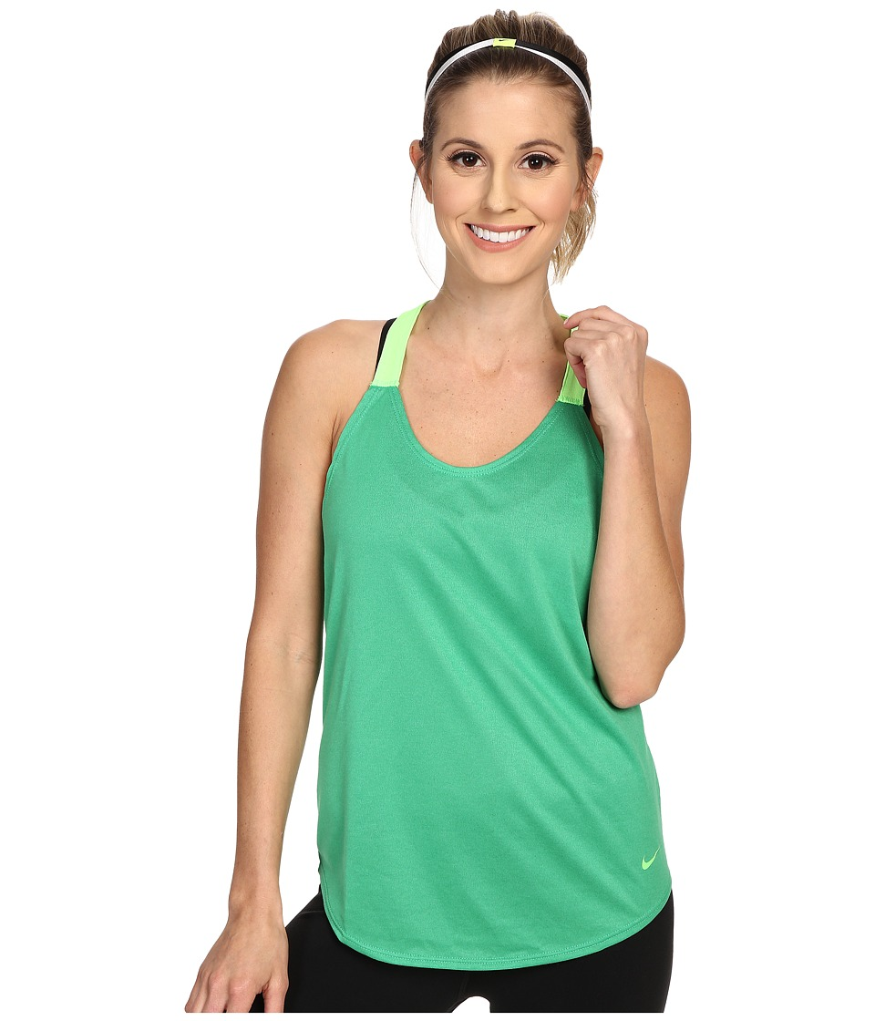 Nike - Elastika Solid Tank Top (Spring Leaf/Voltage Green/Voltage) Women's Sleeveless