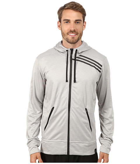 adidas - Standard One Full Zip Hoodie (Medium Grey/Black) Men
