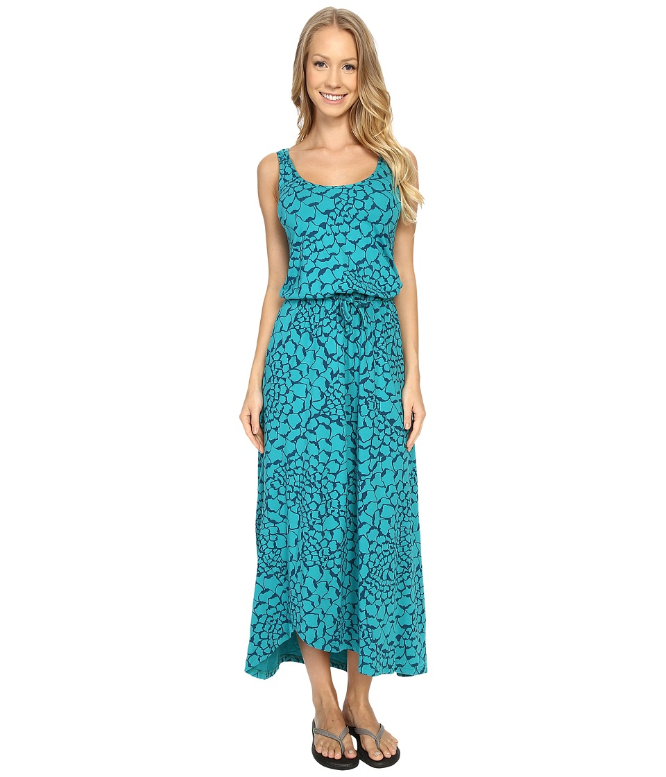 The North Face - On The Go Maxi Dress (Teal Blue Organic Tonal Print) Women's Dress