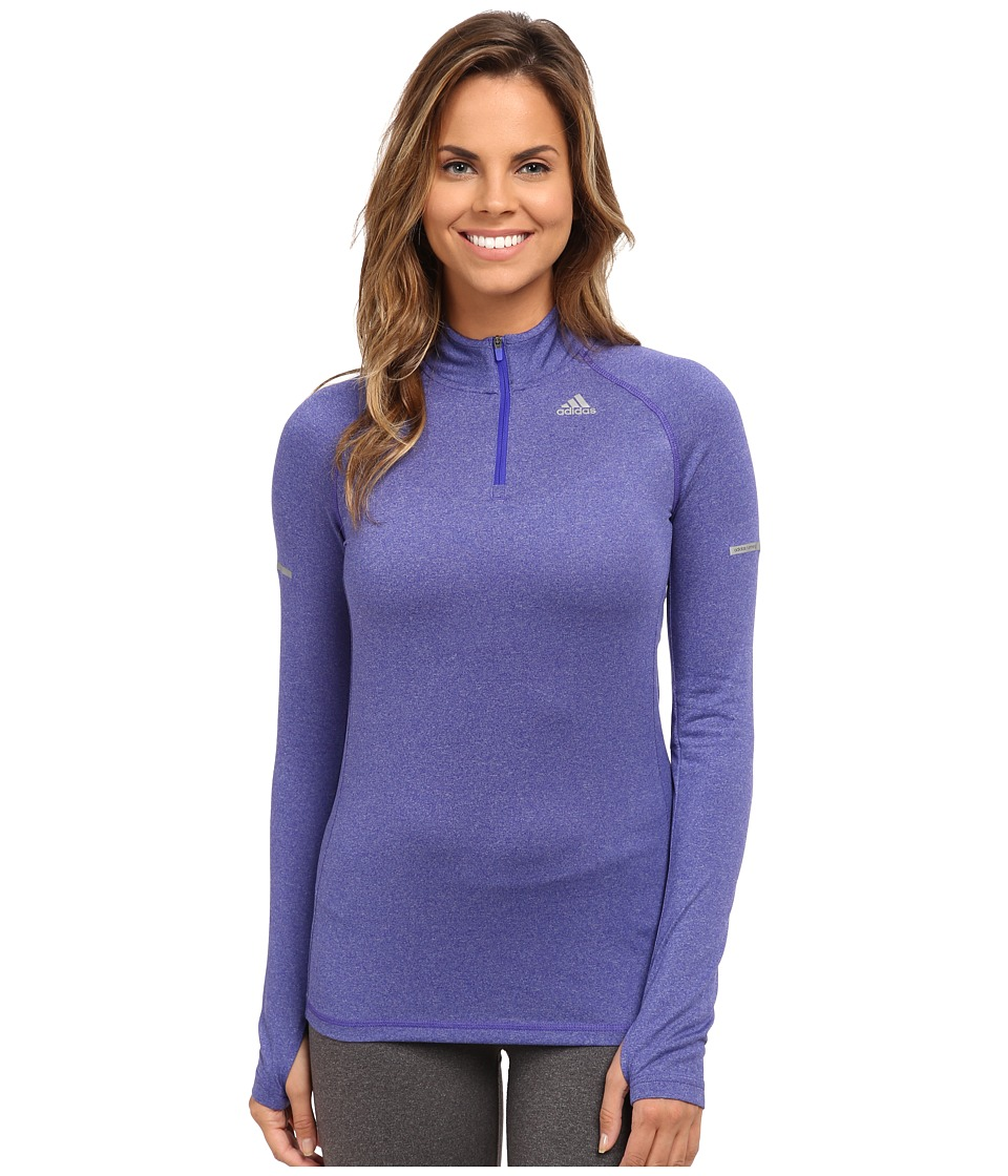 adidas - Sequentials Half Zip Long Sleeve (Night Flash Purple) Women's Long Sleeve Pullover
