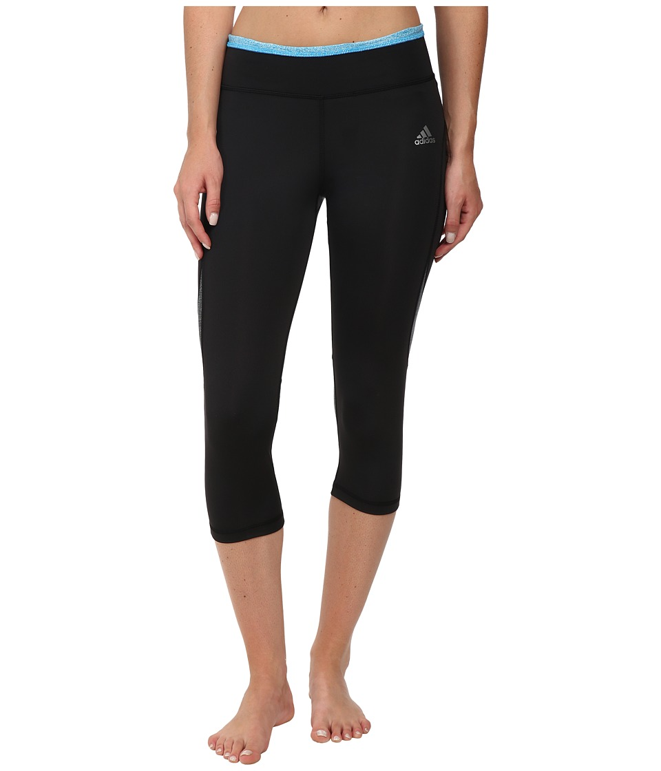 adidas - Techfit Climacool 3/4 Tights (Black/Solar Blue) Women's Clothing