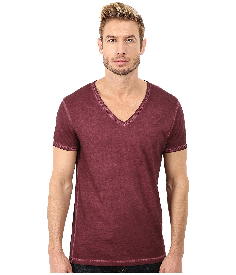 BOSS Orange - Toulouse Garment Dyed Jersey Fashion Fit Short Sleeve V-Neck Tee (Dark Pink) Men's T Shirt