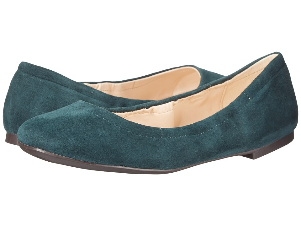 Nine West Girlsnite Dark Green Suede Womens Flat Shoes