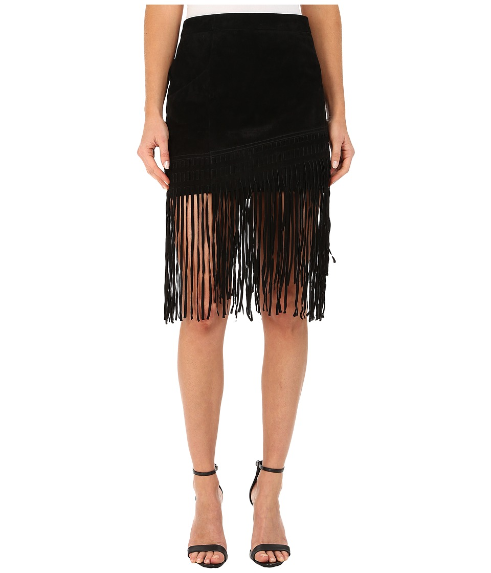 Blank NYC Black Suede Fringe Skirt in Seal The Deal (Seal The Deal) Women