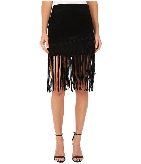 Blank NYC - Black Suede Fringe Skirt in Seal The Deal (Seal The Deal) Women